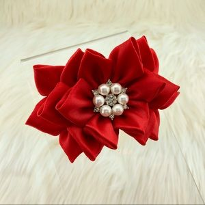 Red Flower Headband with Rhinestone, handmade